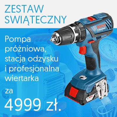 Promocja Zestaw Świąteczny - pompa próżniowa Robinair, stacja odzysku Promax oraz wiertarka Bosch za 4999 zł.